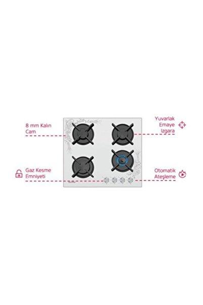 Simfer 3038 Beyaz Tezhip Desenli Cam Set Üstü Ocak 3038 Ocak