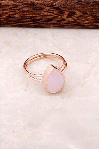 Sümer Telkari Pembe Quartz Taşlı Rose Gümüş Yüzük 2851
