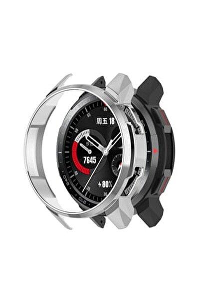 Honor Watch Gs Pro Sert Rubber Çerçeve Koruma Kılıfı - Gümüş