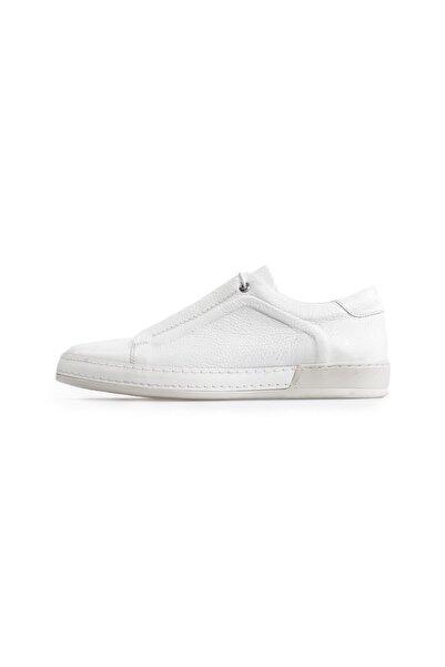 Flower Beyaz Deri Bağcıklı Erkek Spor Ayakkabı