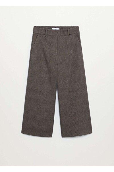 MANGO Woman Kadın Kahverengi Kareli Culotte Pantolon