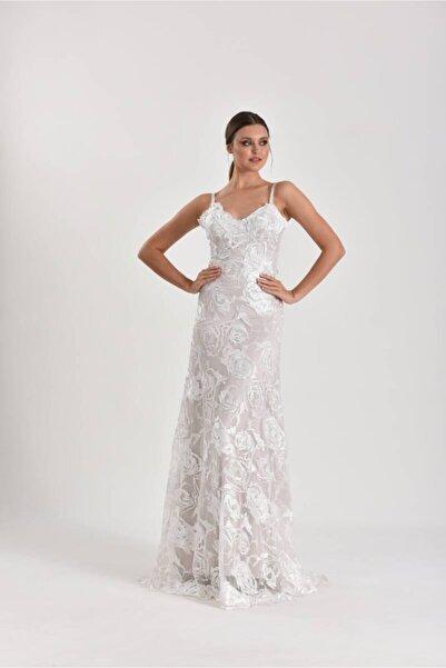 Mediha Cambaz Bridal Loves Lace Rose Gül Desenli Taş Rengi Konsept Fotoğraf Gelinlik Modeli