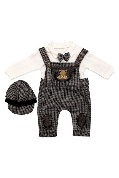 Murat Baby Kahve Kasketli Askılı Slopetli 3 Lü Bebek Takımı
