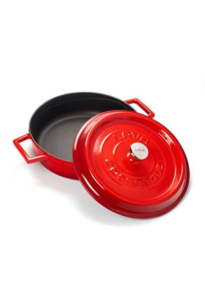 Lava Trendy Çok Amaçlı Döküm Demir Sığ Tencere Çap 28 Cm-kırmızı