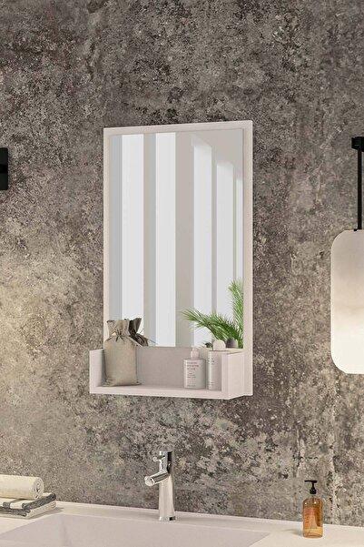 bluecape Inci Beyaz 75cm Raflı Antre Hol Koridor Duvar Salon Mutfak Banyo Wc Ofis Çocuk Yatak Odası Aynası