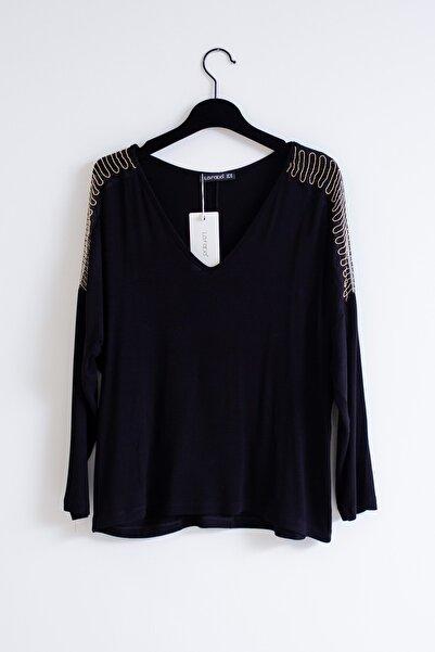 Lafaba Kadın Siyah Büyük Beden Kolları Tüllü Bluz