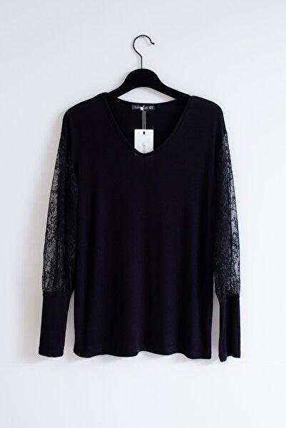 Lafaba Kadın Siyah Büyük Beden Dantelli Bluz