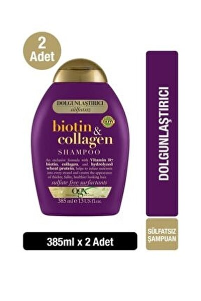 Biotin & Kolajen Sülfatsız Şampuan 385 ml X2