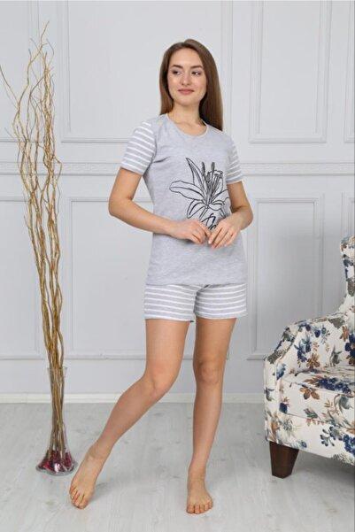 Çekmece Kadın Gri Pamuklu Şortlu Kısa Kollu Pijama Takımı