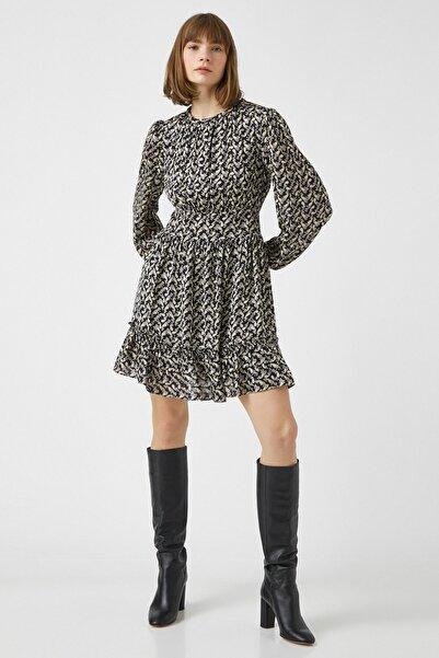Koton Kadın Siyah Desenli Elbise 1KAK83084EW