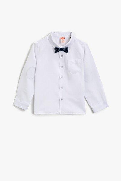 Koton Erkek Çocuk Beyaz Pamuklu Kravat Detayli Klasik Yaka Uzun Kollu Gömlek