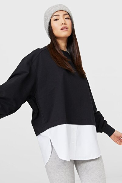 Stradivarius Kadın Siyah Poplin Kenarlı T-shirt