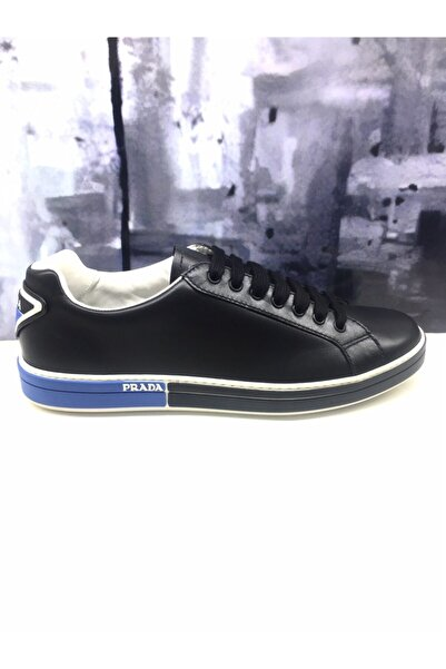 Prada Erkek Siyah Deri Sneaker