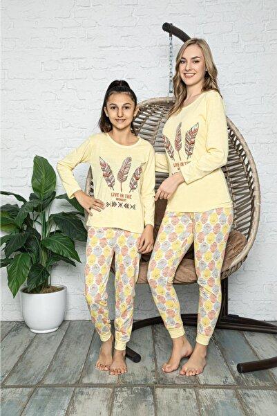 Souffle Boutique Kuş Tüyü Baskılı Sarı Anne Kız Kombin Pijama Takımı