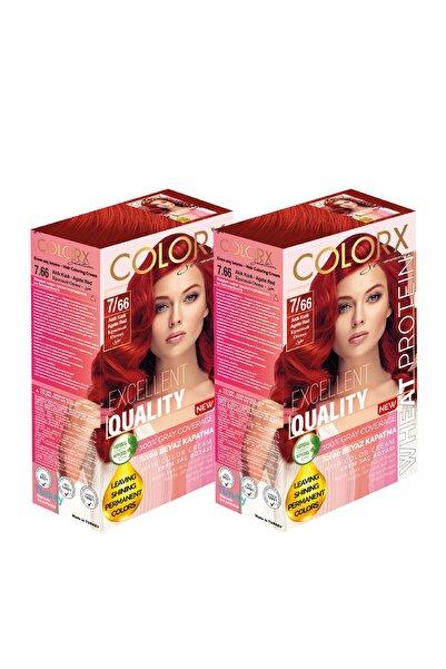 COLORX 2 Kutu Set Saç Boyası - 7.66- Akik Kızılı