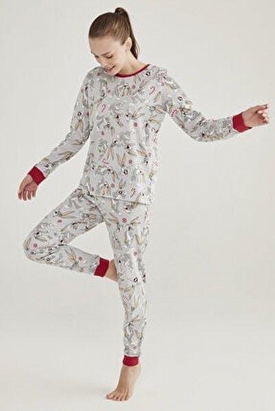 Açık Gri Melanj Baskılı Bugs Pijama Takımı