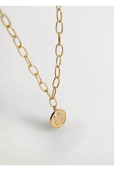 MANGO Woman Kadın Altın Sarısı Para uçlu kolye