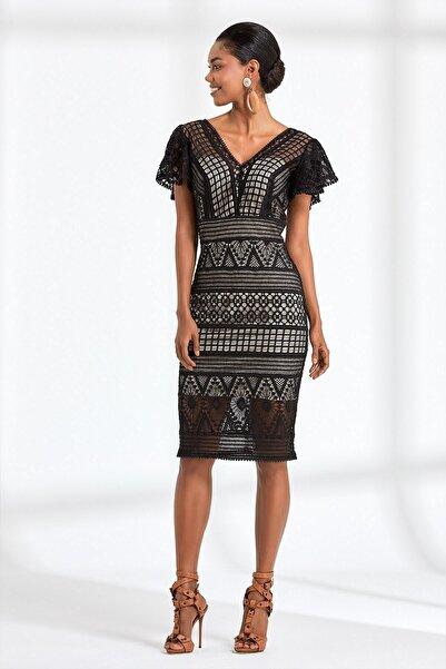 RENGIN Kadın Siyah Geometrik Desen Dantelli Elbise