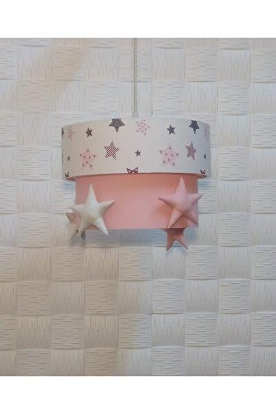 Egelight Pembe Beyaz Gri Yıldız Süslü Çocuk Odası Bebek Odası Avize Sarkıt Pasta