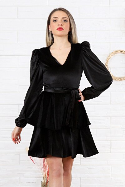 Arlin Kadın Kısa Kadife Bel Kuşaklı Uzun Kollu Kat Kat Etekli Siyah Elbise