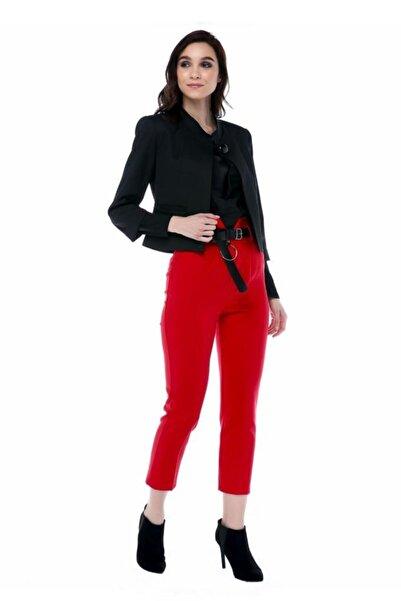 Modkofoni Yüksek Bel Deri Kemerli Kırmızı Bilek Pantolon