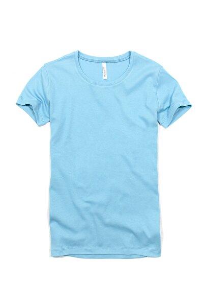 Cottonland Kadın Dıana Esnek Ribana Pamuklu Kısa Kollu T-shirt Turkuaz