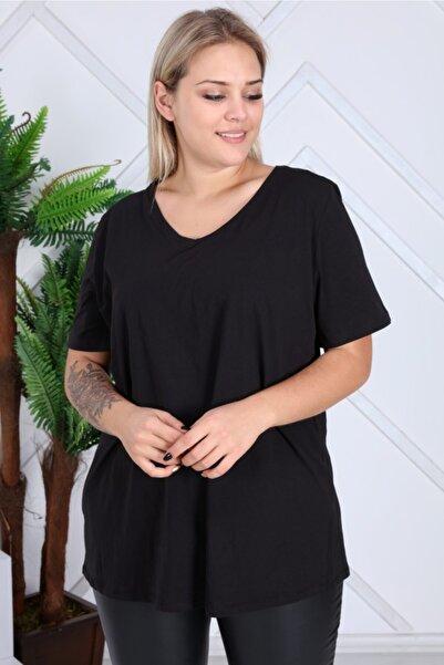 EMEZ Kadın Siyah V Yaka Siyah Basic Tişört