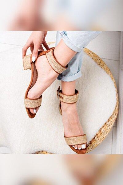 Limoya Kadın Taba Gerçek Hasır Alçak Topuklu Hasır Ökçeli Sandalet