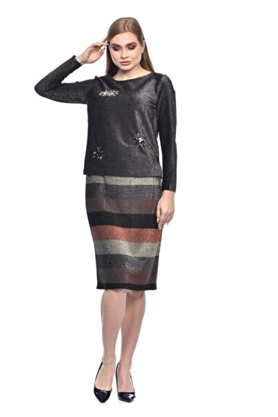 Modkofoni Bisiklet Yaka Nakış Ve Taş Detaylı Uzun Kollu Simli Gri Çizgili Etekli Siyah Abiye Elbise