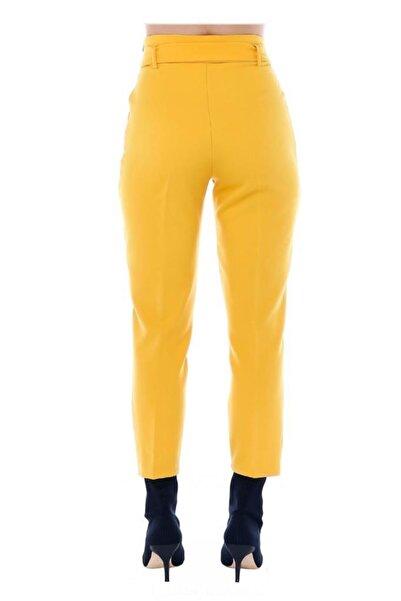 Modkofoni Yüksek Bel Tokalı Sarı Bilek Pantolon