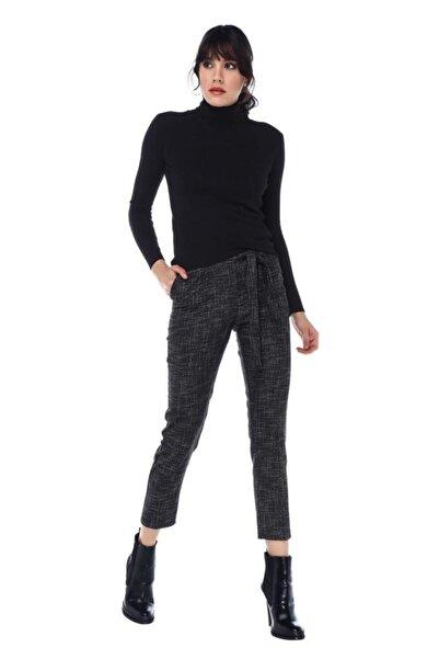 Modkofoni Kuşaklı Kırçıllı Siyah Bilek Pantolon