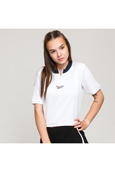 Reebok Ft8121 Cropped V Neck Kadın Beyaz Tişört