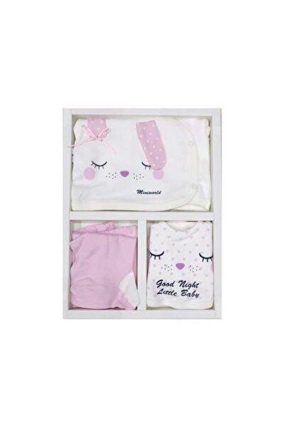 Miniworld Kız Bebek Uyuyan Tavşan 5 'li Hastane Çıkışı Doğal Pamuklu 60209-2