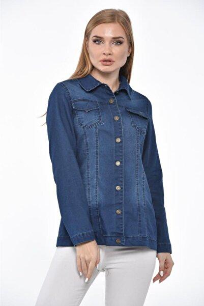 Modkofoni Düğmeli,cepli Ve Likralı Yıkamalı Düz Kesim Koyu Mavi Kot Ceket
