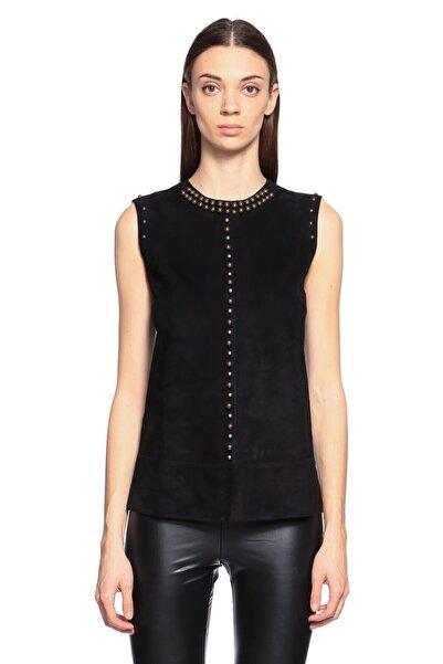 Lanvin Zımba Detaylı Siyah Deri Bluz