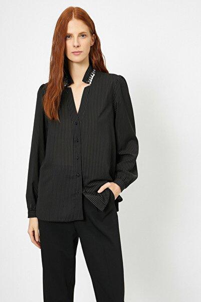 Koton Kadın Siyah Düğme Detaylı Gömlek 0kak68110cw