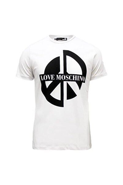 Love Moschino Erkek Bisiklet Yaka Logo Baskılı Slim Beyaz T-shirt