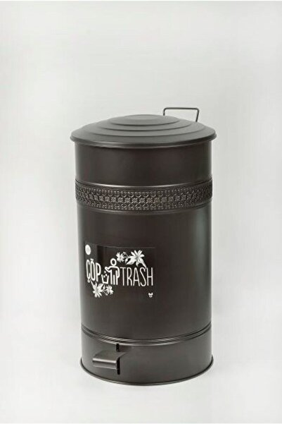 Yıldıray Metal Siyah Pedallı Çöp Kovası 16 Lt Ferforje Metal Çöp Kutusu