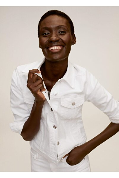 MANGO Woman Kadın Beyaz Cepli Kot Ceket 77080511
