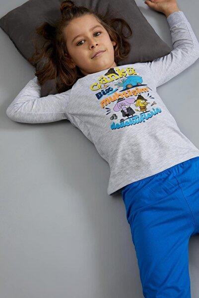 DeFacto Erkek Çocuk Gri Kral Şakir Lisanslı Pijama Takımı