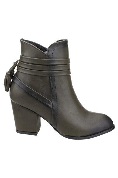 Ayakland 1111-832 Günlük 6 Cm Topuk Bayan Cilt Bot Ayakkabı