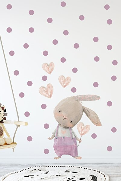 KT Decor Sevimli Kalpli Tavşan Pembe Tulumlu Duvar Sticker Seti