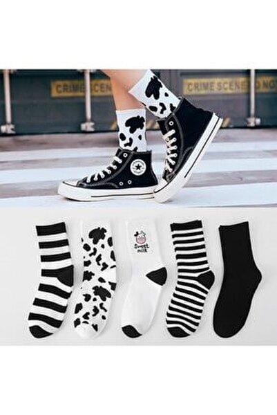 Kadın 5 Çift Siyah + Beyaz Inek Desenli Çizgili Tenis Çorabı