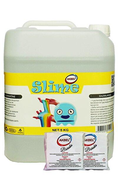akbel Slime Şaka Hamuru Boyasız Şeffaf 5 Kg+200 gr Boraks