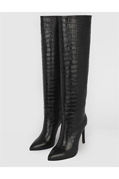 İLVİ Bonni Kadın Hakiki Deri Çizme Siyah Kroko