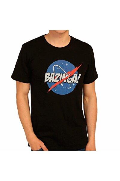 Bant Giyim - Big Bang Theory Nasa Bazinga Siyah Erkek Tişört