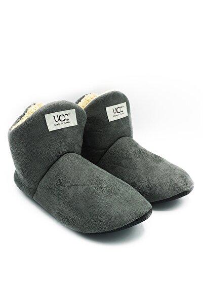 UCC Unisex Gri Içi Yünlü Ev Pandufu Ev Botu Ev Ayakkabısı