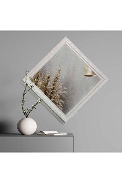 tino furniture Dekoratif Beyaz Ayna Kare Baklava Ayna 60x60 Çocuk Odası Yatak Odası Duvar Aynası