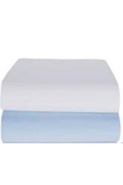 Eflatun 2'li Beyaz-mavi Lastikli Penye Bebek Çarşafı Pamuklu 70*140
