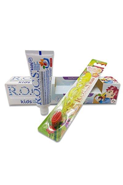 R.O.C.S. Kids 3-7 Florürsüz Diş Macunu Ve Diş Fırçası Seti - Sarı Fırçalı
